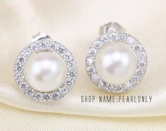 freshwater pearl earings,girls pearl earrings,half pearl earrings,pearl earring stud, buying pearl earrings,bridesmaid earrings pearls