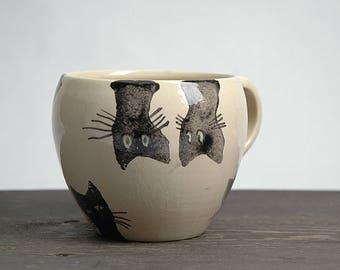 Cat Handmade pottery mug, ceramic mug, Cat mug, Wheel Thrown Mug