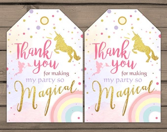 Unicorn Favor Tags Unicorn Birthday Thank you tags Label tags Magical Birthday Gift tags  Rainbow Pink gold Girl birthday Digital PRINTABLE