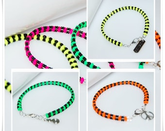 Bracelet neon Super duo crystal glass, black with neon