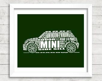 """British Racing Green MINI Cooper decor, Automotive Art, MINI Car, Instant Download, Green Mini Cooper, Garage Art, 8x10"""", 11x14"""""""
