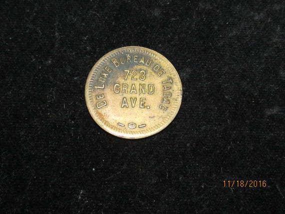 Vintage de luxe deluxe bureau de tabac trade token coin 5 cent for Bureau de tabac