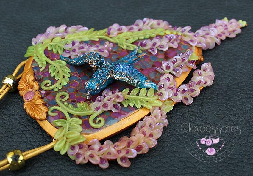 Floral necklace / Spring necklace / Wisteria flowers / Art Nouveau necklace / Statement necklace / Bird necklace / Polymer clay necklace