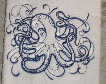 PAIR hand towels - inky octopus -  15 x 25 inch for kitchen / bath MORE COLORS