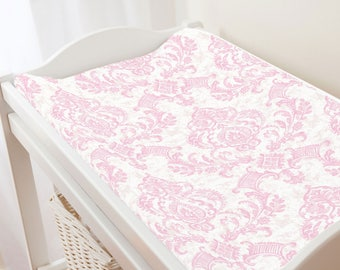 Carousel Designs Pink Painted Damask Changing Pad Cover
