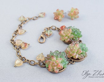 Set of jewelery with succulents from polymer clay. Bracelet and earrings with succulents from polymer clay