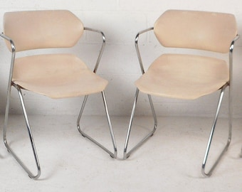Set of Four Mid-Century Modern Stacking Chairs by Hugh Acton (8442)NJ