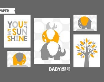 Orange Grey Boy Nursery art prints Nursery wall art Elephant Tree You are my sunshine (NPHOmix074)