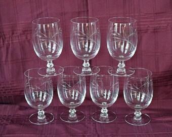 "Set of Six (6 + 1) Fostoria ""True Love"" Ice Tea Glasses/Goblets ~ Water Goblets ~ Wine ~ Mid Century ~ MCM ~ 1958-67 ~ Wine Glasses"