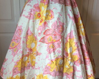 """Rare Vintage 1950's Watercolor Butterfly Print Full Circle Skirt M/L 32"""" Waist"""