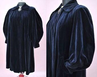 Vintage 1950s Blue Velvet Opera Coat with Balloon Sleeves • Volup • Statement Button