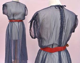 Vintage 30s Sheer De Havilland Dress • Polka Dots • See Through Dress