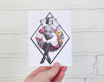 Floral Collage Lady - Hugette 3-pack postcards - 4.5x5.5 inch postcard pack. Snail mail to your pen pals, or frame them on your wall.