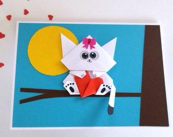 Funny Handmade Birthday Cat card for Girlfriend, Boyfriend, Mothers day, Him, Her, Sister, Origami White kitten