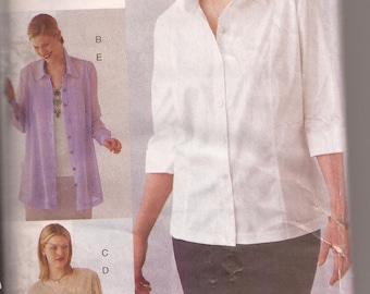 Vogue Mode 7062 Women's/Women's Petite Blouse, Tunic and Camisole Pattern, size 26W-28W-30W  Vintage 1999