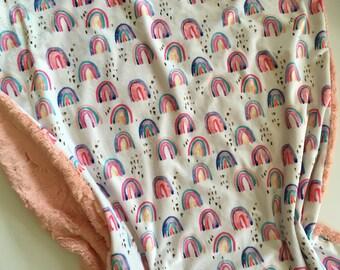 Rainbow blanket, Pastel watercor Minky Baby Blanket- rainbow nursery, coral, rainbow baby, modern baby shower gift, dwell darling
