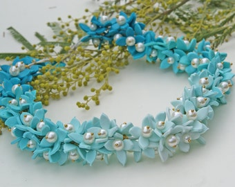 Design flower necklace beaded necklace handmade art beads unique Jewelry turquoise coloured necklace