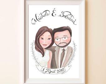 CUSTOM PORTRAIT - Wedding portrait, digital download, marriage