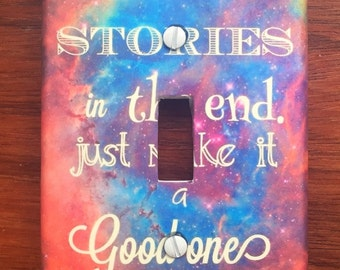 Doctor Who quote light switch cover Whovian Tardis DWAS Fandom // We are all stories in the end // SAME Day SHIPPING**