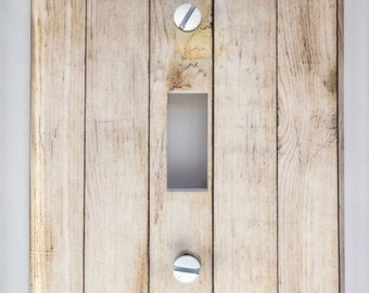 Rustic wood light switch plate cover // beige light brown white cream plank image 65 // SAME DAY SHIPPING**