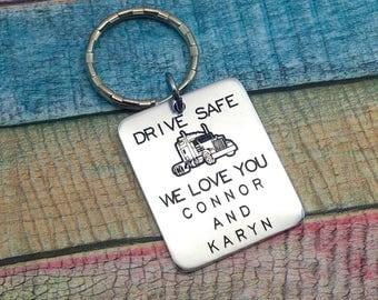 Trucker Gift, Trucker Key Ring, Gift For Trucker, Semi Truck Driver, Truck Driver Daddy, Gift For Dad, Drive Safe Trucker, Key Ring