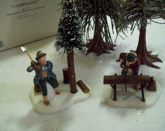 """Vintage Dept. 56 Hand Painted Porcelain Heritage Village Collection """"Lumberjacks"""" #56590"""
