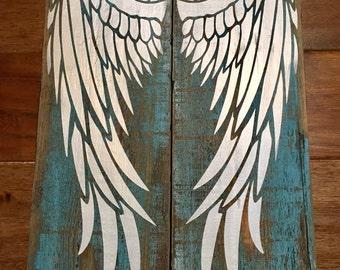 Angel wings painted wood