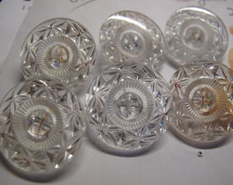 6 clear glass Victorian glass reverse faceted 24 mm diameter 020517/32