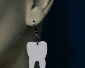 Lasercut White Acrylic Tooth Earrings