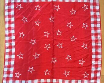Vintage 1980s Red Stars w/Houndstooth Harve Bernard Light Parachute Silk Scarf/Patriotic and Pretty