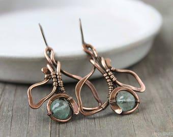 Copper earrings Wire wrap earrings Wirewrapped jewelry Fluorite earrings earring Gift for her Handmade earrings  Wire wrapped earrings