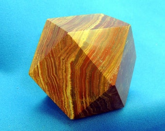 Stone Jasper cuboctahedron 14 sided polished Paperweight or Display A