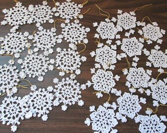 "24 Hand Crocheted Snowflakes Approx. 4"" Across"