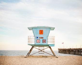 California beach photography, summer wall art, Lifeguard Stand, Ventura Pier, Vintage look, Fine Art Beach photography print or framed art