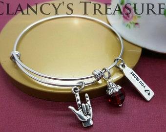 Bangle Bracelet. Love you more, Stainless Steel Bracelet, Stacking Bracelets, Birtstone Bracelet, Love sign Language, Metal Bracelet
