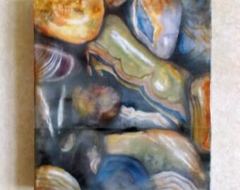 Encaustic painting - Agates, mixed media, encaustic art