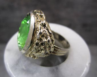 Bold   lime green stone adjustable  statement ring