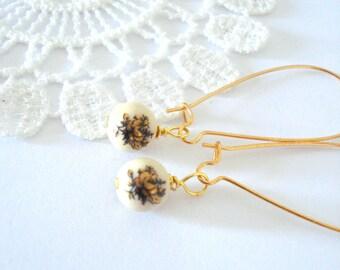 Beaded Rose Earrings, Gold Rose Earrings, Victorian Earrings, Art Deco Style Jewelry, Antiqued Brass Earrings, Gift for Her
