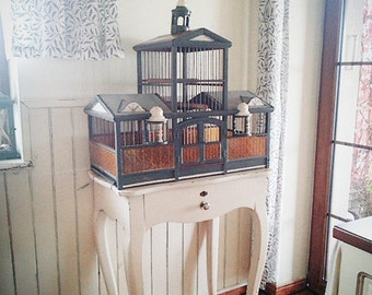 A large bird cage, Birdcage, bird, vintage, kitchen, shabby chic,container, Vintage Boxes,