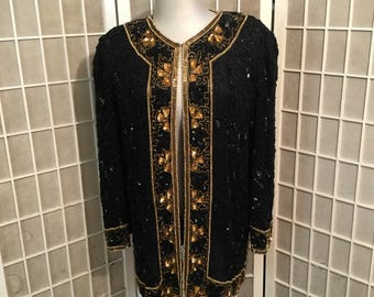 Vintage Silk XXL Long Heavily Beaded Sequined Silk Jacket High Quality