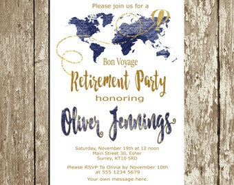 Retirement Invitation for men Blue Navy and gold Retirement Party Invitation Download Travel Retirement Celebration World map Custom colors