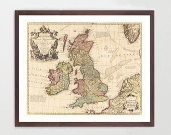 England Map - England Map Art - Map Decor - Vintage Map - Great Britain - United Kingdom - UK Map - London Map - Ireland Map - Scotland Map