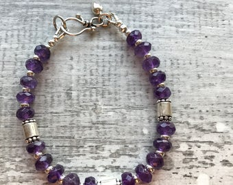 Sterling Silver and Amethyst Bracelet with Hook and Eye Sterling clasp