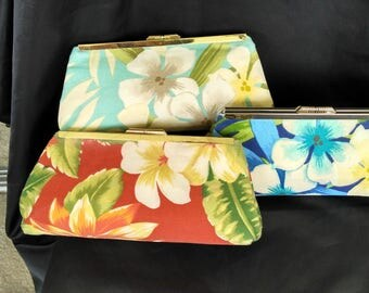 Red coral aqua blue  floral clutch purse tropical Beach Wedding clutch purse Summer Wedding clutch BBsCustomClutches