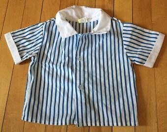 Vintage 1980s Baby Infant Boys Blue White Stripe Cotton Button Down Shirt! Size 12 months