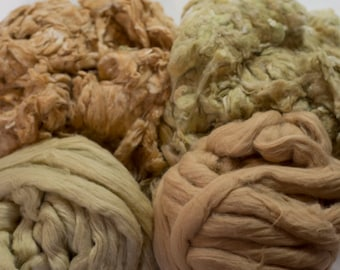 Colored Cotton Spinning Fiber Sampler Pack, Natural Colored Cotton Combo, Cotton Fiber Assortment, Green Cotton, Brown Cotton