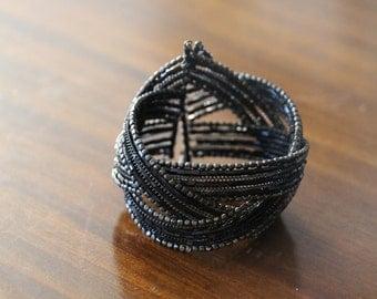 Elegant Black Beaded Bangle Cuff Bracelet