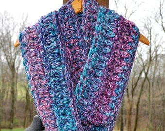 FREE SHIPPINGCrochet Infinity Scarf- Purple and Blue- Soft Acrylic and Alpaca Yarn- Made With FOUR Strands of Yarn for an Extra Thick Scarf