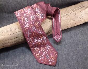 SPECIAL OFFER, red tie, spezial tie, latvian symbols, wedding silk tie, gift him, hand painted tie, ties for men, red necktie modern men tie