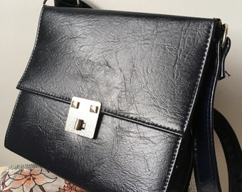Late60s/Early 70s Navy Blue Shoulder Bag-As New Condition